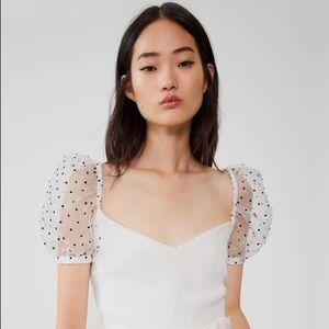 Zara polka dot combined puff top